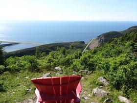 Aussicht und Rastplatz in der Nähe des Geocaching-Verstecks im Cape Breton Highlands National Park.