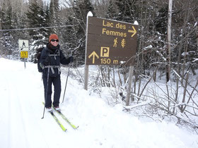 Bereit zur Ski Tour im Nationalpark Mont Tremblant.