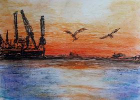 Hamburger Hafen im Sonnenuntergang gemalt