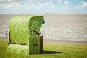 beachtenswert fotografie, Fotokunst, Amrum, Strandkorb, grün, Wattenmeer, Nordsee