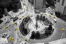 beachtenswert fotografie, Fotokunst, Columbus Circle, New York,  Taxi, gelb, yellow, sw