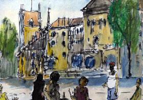Urban Sketching in München, Starßenszene mit Menschen, Häuser im Hintergrund, Aquarell & Füller