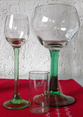 Originalgläser aus Roscher's Gaststätte der Ära Bär