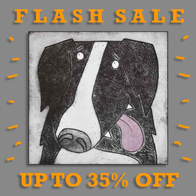 Dog etching print flash sale Lucy Gell