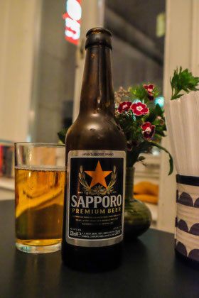 A refreshing glass of Sapporo.