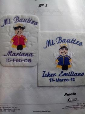para servilleta ó toalla bordado Bautizo