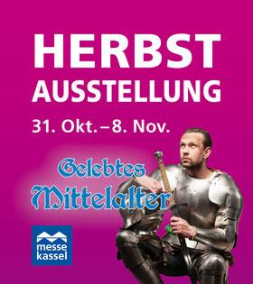 Werbeplakat mit Ritter in Rüstung Herbstausstellung 31. Okt. - 8. Nov. Gelebtes Mittelalter messe kassel