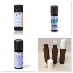 DIY Rezepte Aromatherapie ätherische Öle Glasflaschen leer Roll-on