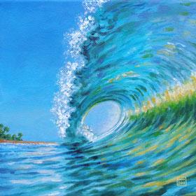 Leinwanddruck Acryl auf Leinwand Surfers Paradise Welle Gischt Palmen