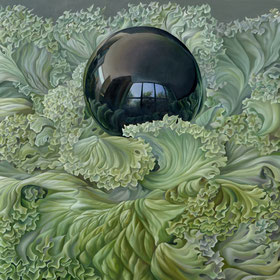Jorge Luna. PERLA NEGRA, Óleo sobre tela, 130 x 130 cm.