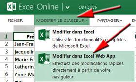 Modifier avec Excel Web App