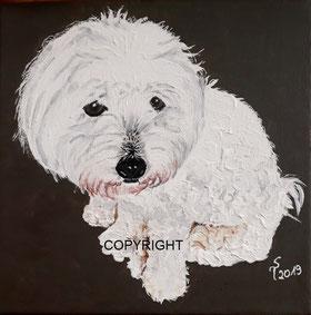 Hundeporträt: Kopf und und oberer Rumpf eines Golden Retrievers ist seitlich dargestellt. Er hat die Augen geschlossen und die rosa Zunge rausgestreckt