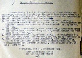 Bescheinigung für Gustav Weiss über eingezogenes kommunistisches Eigentum, 24.9.1945.  Foto: Stadtarchiv Göttingen