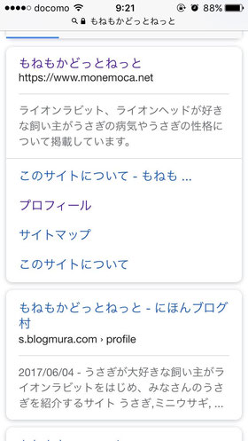 google検索結果、サイトリンク表示の画像