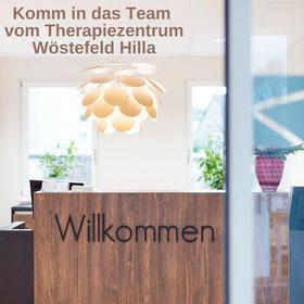 Komm in das Team vom Therapiezentrum Wöstefeld Hilla - Zum nächstmöglichen Zeitpunkt suchen wir für unsere Standorte in Duisburg-Homberg und Moers Physiotherapeut:Innen, Osteopath:Innen, Ergotherapeut:Innen und Logopäd:Innen