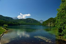 Bayern , Allgäu , Alpen , Berge , See , Wasser , Himmel , Panorama , Schlösser , König Ludwig , Blau , Germany , Castle , Lake , Mountains , View , Alps ,