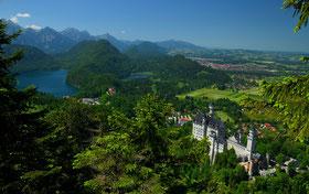Alpen, Berge , Seen , Bayern , Allgäu , Füssen , Märchenschloss , König , Ludwig , Panorama , Germany , Castle , Himmel, Grün , Mountains , Wandern , Trekking ,