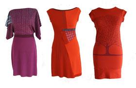 3 Kleider in Rottönen mit Siebdruckmustern , gestaltet von Vesna Stih aus Slowenien.