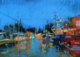 """Rain in Paia"", Pastell (C) D. Saul 2015"