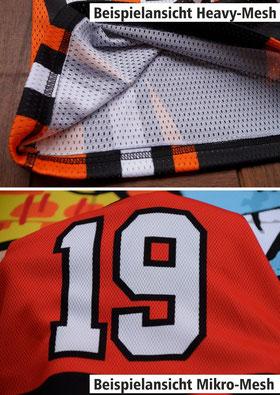 """Material Stoff B360 Ridershirts Wakeboard Shirt wasserabweisend mit eigenem Namen und Zahl Logo Heavy-Mesh"""" unten """"Mikro-Mesh"""""""