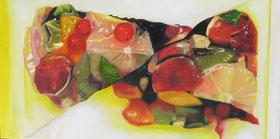 Fruchttörtchen geschnitten Öl auf Leinwand 60 x 120 cm
