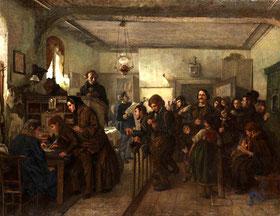 Im Auswanderungsbüro, Gemälde von Felix Schlesinger