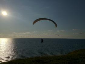 Gleitschirmflieger bei einen Abendflug im ruhigen laminaren Küstenwind in Dänemark  (Foto: Austriafly)