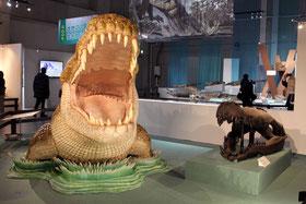 デイノスクス 生体復元と頭骨レプリカ。頭骨はミュージアムパーク茨城県自然博物館所蔵。