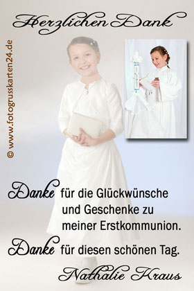 Dankeskarte für die Kommunion Danksagung Erstkommunion