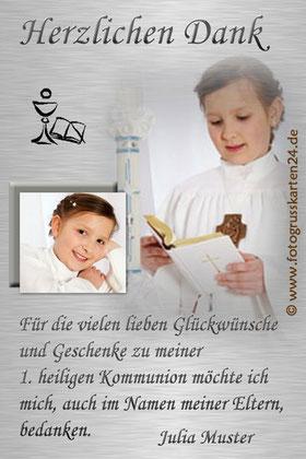 Dankeskarte Kommunion Danksagung Erstkommunion