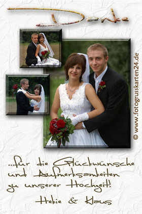 Dankeskarte zur Hochzeit mit 3 Fotos