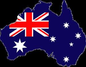 Australien, Flagge + Landkarte