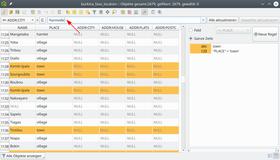 Farblich hervorgehobene Datensätze durch bedingte Formatierung. Am oberen Rand (Pfeil) die Bearbeitungsleiste für das Setzen von Werten.