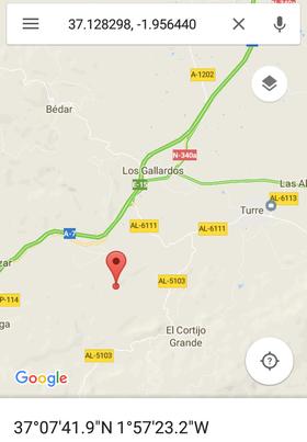 Ejemplo de coordenadas para la localización de la emergencia