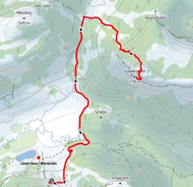 Route von der Bergstation Wurzeralm auf den Stubwieswipfel