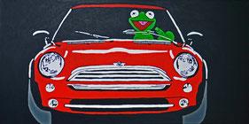 Frog, Driver, Divo Santino, Pop Art, Mini, Auto, roter, Flitzer, Frosch, Stinkefinger, Kermit, grüner Frosch, Comic