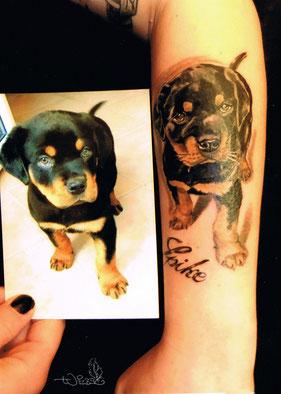 Tattoo Tierportrait Welpe