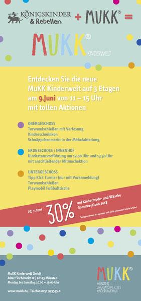 MuKK, Münsters ungewöhnliches Kinderkaufhaus, Aktionstag, Handzettel, Plakat, Newsletter