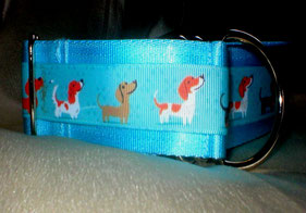 Halsband, Zugstopp, 4 cm breit, goldorange Gurtband 4 cm, bunte Borte