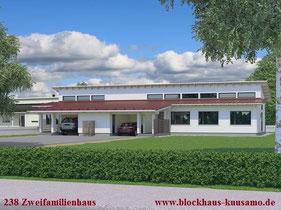 Blockhaus als Doppelhaus