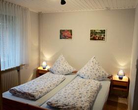 Schlafzimmer mit Doppelbett und großem Fenster