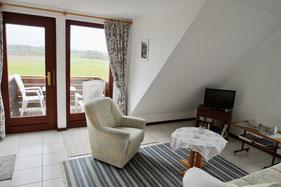 Wohnzimmer mit Blick auf Balkon und ins Grödersbyer Hinterland