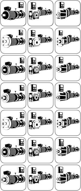 Bauformen D Mot Schneckengetriebe Stirnradgetriebe Anbauten Bremse Fremdlüfter Incrementalgeber; separat Frequenzumrichter zur variablen Drehzahl einstellen