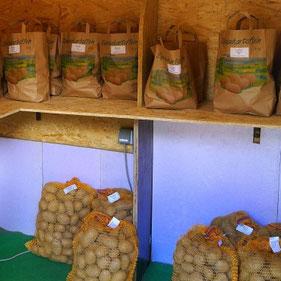 Wir verkaufen unsere Kartoffeln direkt ab Hof in unserem Hofshop.