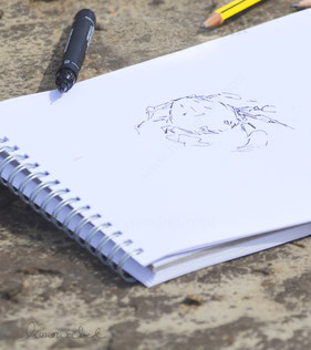 honourebel base above the surface design and impulses drawing pad in the sand