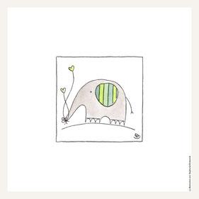 Poster 30x30 cm, Elefant grün