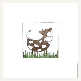 Poster 30x30 cm, glückliche Kuh