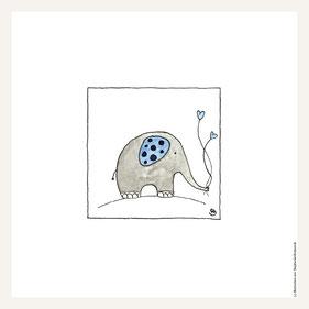 Poster 30x30 cm, Elefant blau