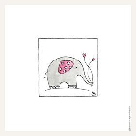 Poster 30x30 cm, Elefant rosa