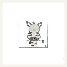 Poster 30x30 cm, fröhliche Zebra